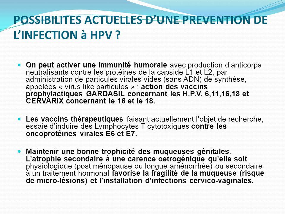 POSSIBILITES ACTUELLES D'UNE PREVENTION DE L'INFECTION à HPV ? On peut activer une immunité humorale avec production d'anticorps neutralisants contre