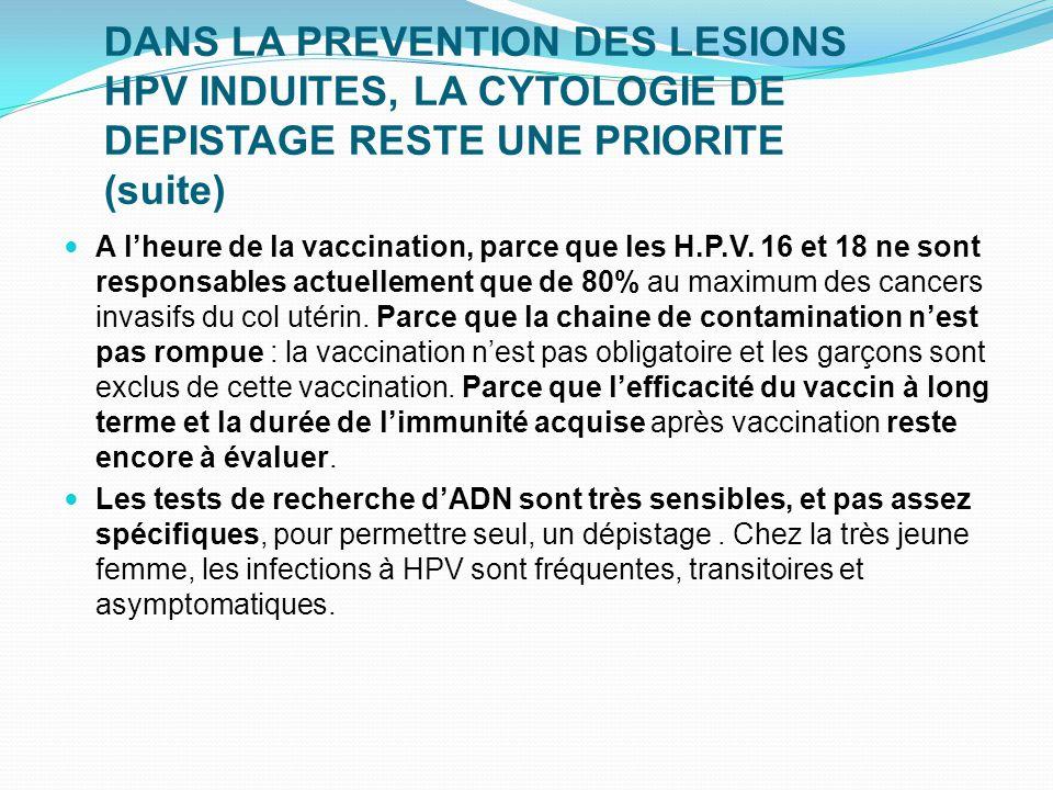 DANS LA PREVENTION DES LESIONS HPV INDUITES, LA CYTOLOGIE DE DEPISTAGE RESTE UNE PRIORITE (suite) A l'heure de la vaccination, parce que les H.P.V. 16