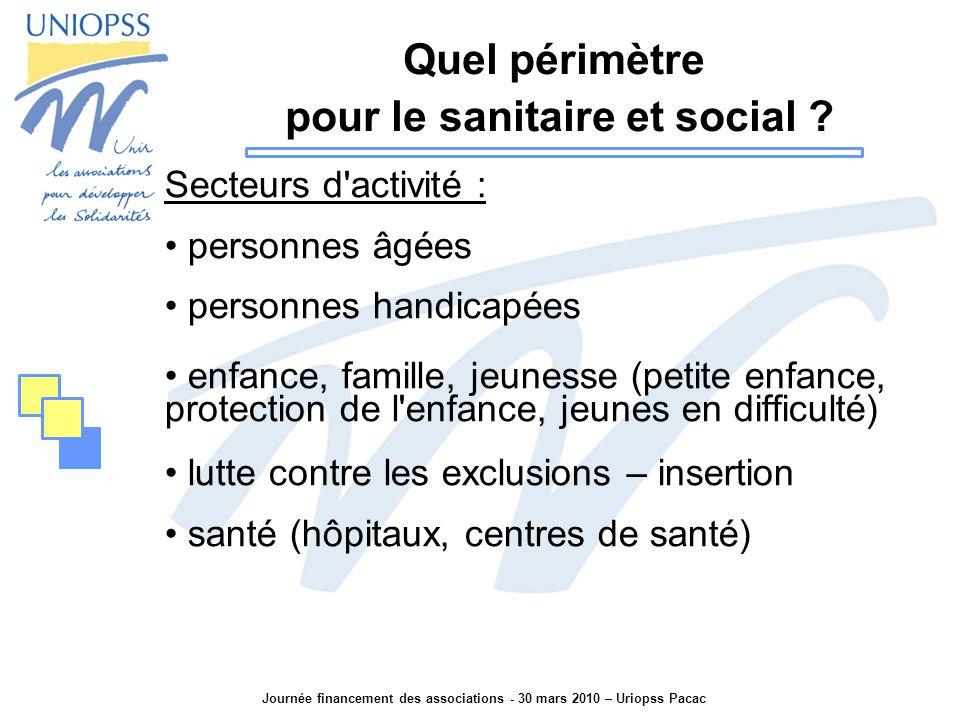 Journée financement des associations - 30 mars 2010 – Uriopss Pacac Quel périmètre pour le sanitaire et social .