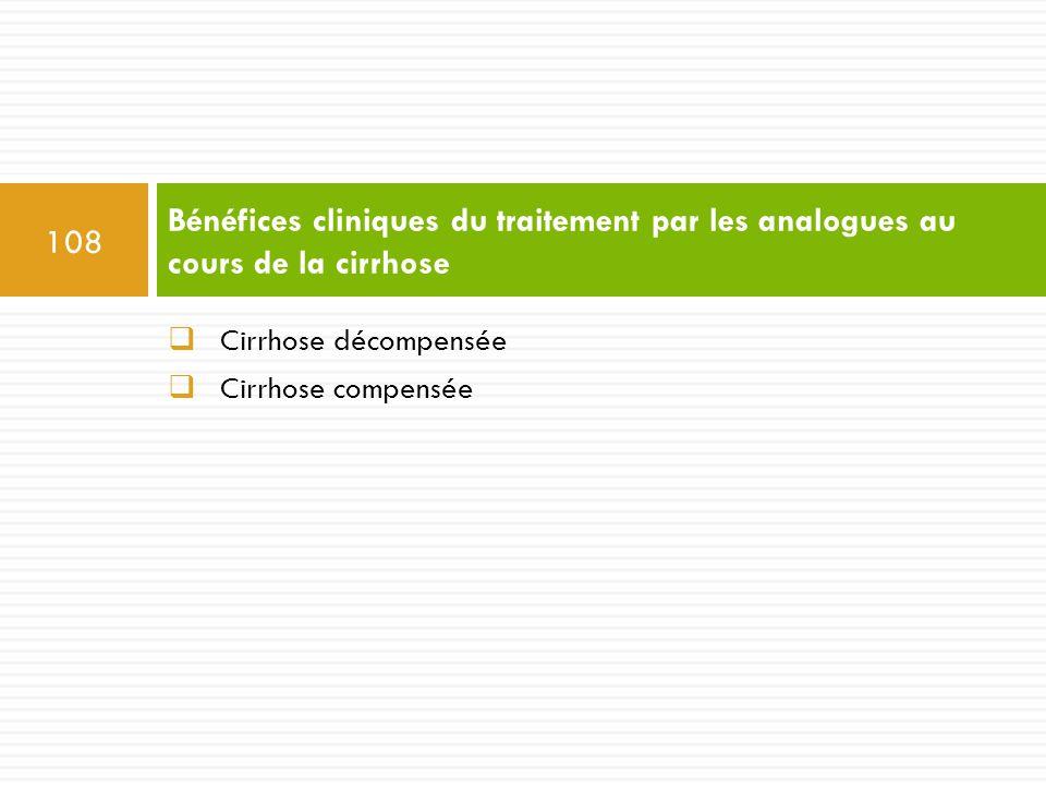  Cirrhose décompensée  Cirrhose compensée Bénéfices cliniques du traitement par les analogues au cours de la cirrhose 108
