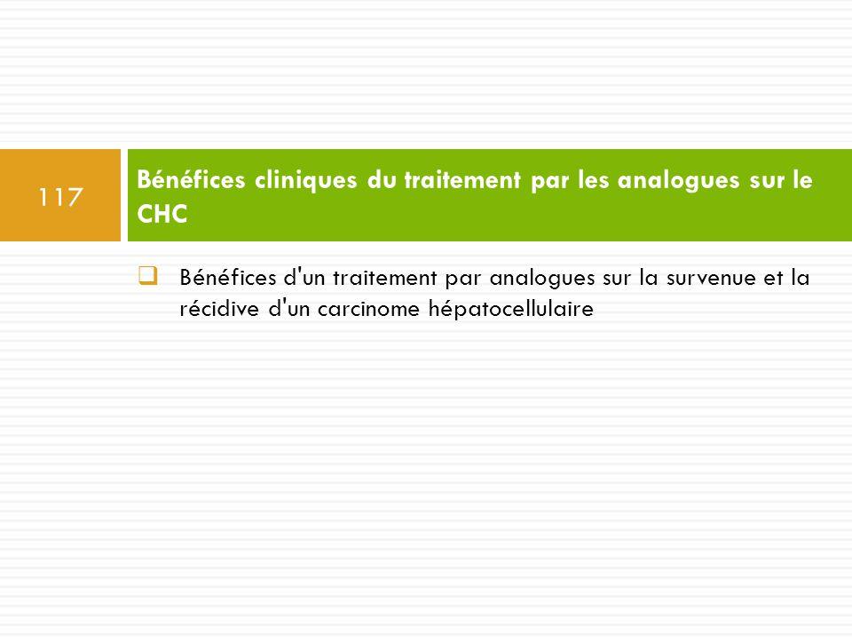  Bénéfices d'un traitement par analogues sur la survenue et la récidive d'un carcinome hépatocellulaire Bénéfices cliniques du traitement par les ana