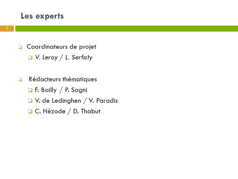 Les experts 2  Coordinateurs de projet  V. Leroy / L. Serfaty  Rédacteurs thématiques  F. Bailly / P. Sogni  V. de Ledinghen / V. Paradis  C. Hé