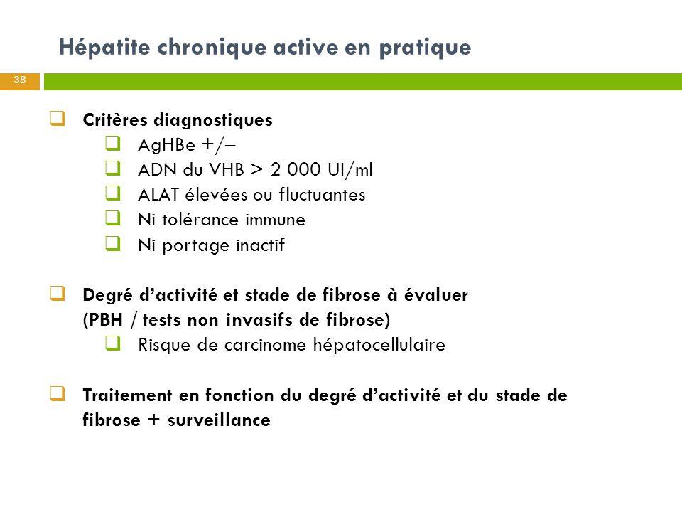 Hépatite chronique active en pratique 38  Critères diagnostiques  AgHBe +/–  ADN du VHB > 2 000 UI/ml  ALAT élevées ou fluctuantes  Ni tolérance
