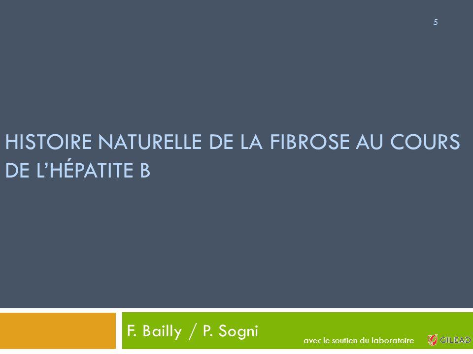 HISTOIRE NATURELLE DE LA FIBROSE AU COURS DE L'HÉPATITE B F. Bailly / P. Sogni 5 avec le soutien du laboratoire