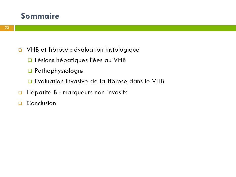 Sommaire 50  VHB et fibrose : évaluation histologique  Lésions hépatiques liées au VHB  Pathophysiologie  Evaluation invasive de la fibrose dans l