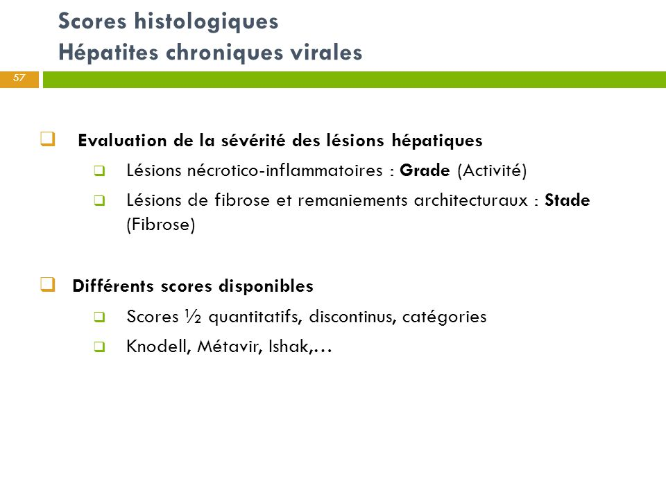  Evaluation de la sévérité des lésions hépatiques  Lésions nécrotico-inflammatoires : Grade (Activité)  Lésions de fibrose et remaniements architec
