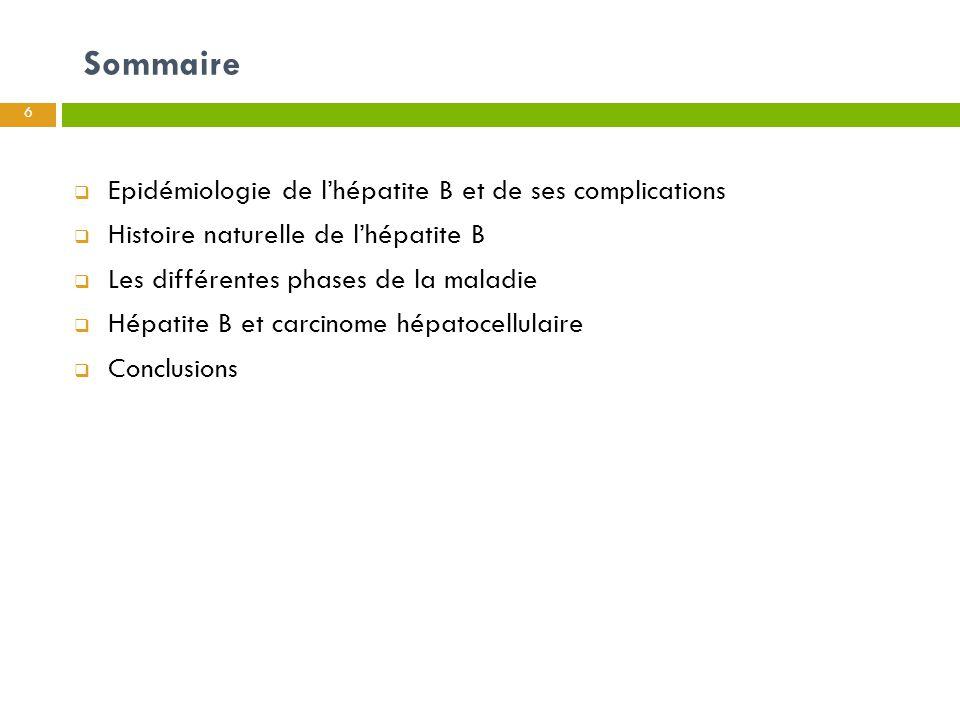 Sommaire 6  Epidémiologie de l'hépatite B et de ses complications  Histoire naturelle de l'hépatite B  Les différentes phases de la maladie  Hépat