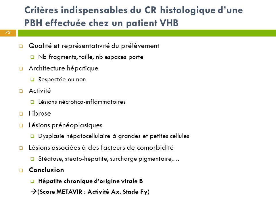 Critères indispensables du CR histologique d'une PBH effectuée chez un patient VHB  Qualité et représentativité du prélèvement  Nb fragments, taille