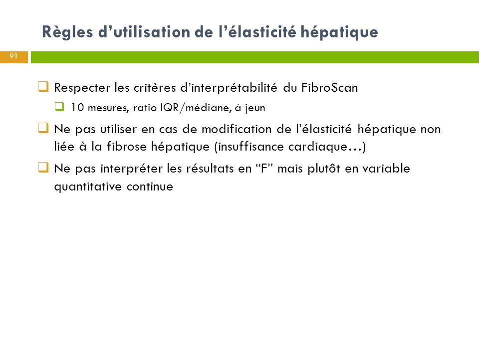 Règles d'utilisation de l'élasticité hépatique 91  Respecter les critères d'interprétabilité du FibroScan  10 mesures, ratio IQR/médiane, à jeun  N
