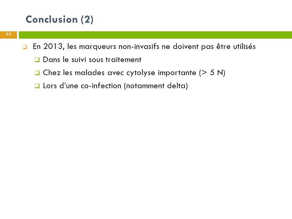Conclusion (2) 95  En 2013, les marqueurs non-invasifs ne doivent pas être utilisés  Dans le suivi sous traitement  Chez les malades avec cytolyse