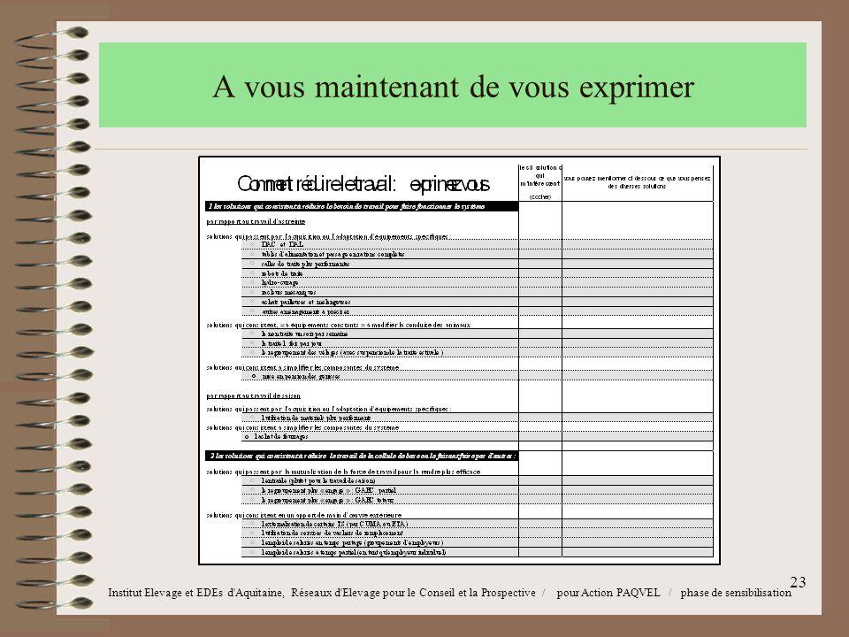 23 Institut Elevage et EDEs d Aquitaine, Réseaux d Elevage pour le Conseil et la Prospective / pour Action PAQVEL / phase de sensibilisation A vous maintenant de vous exprimer