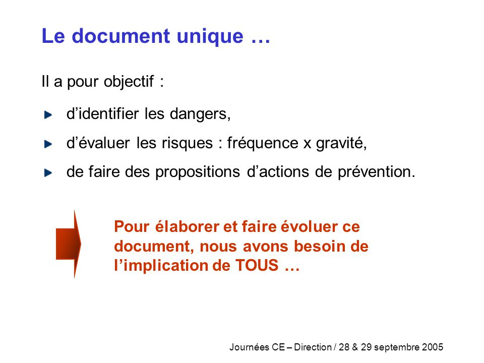 Journées CE – Direction / 28 & 29 septembre 2005 Il a pour objectif : Le document unique … d'identifier les dangers, d'évaluer les risques : fréquence