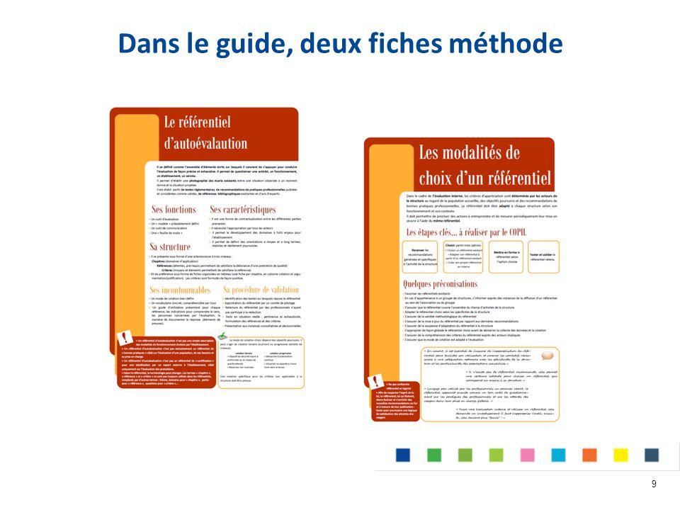 Dans le guide, deux fiches méthode 9