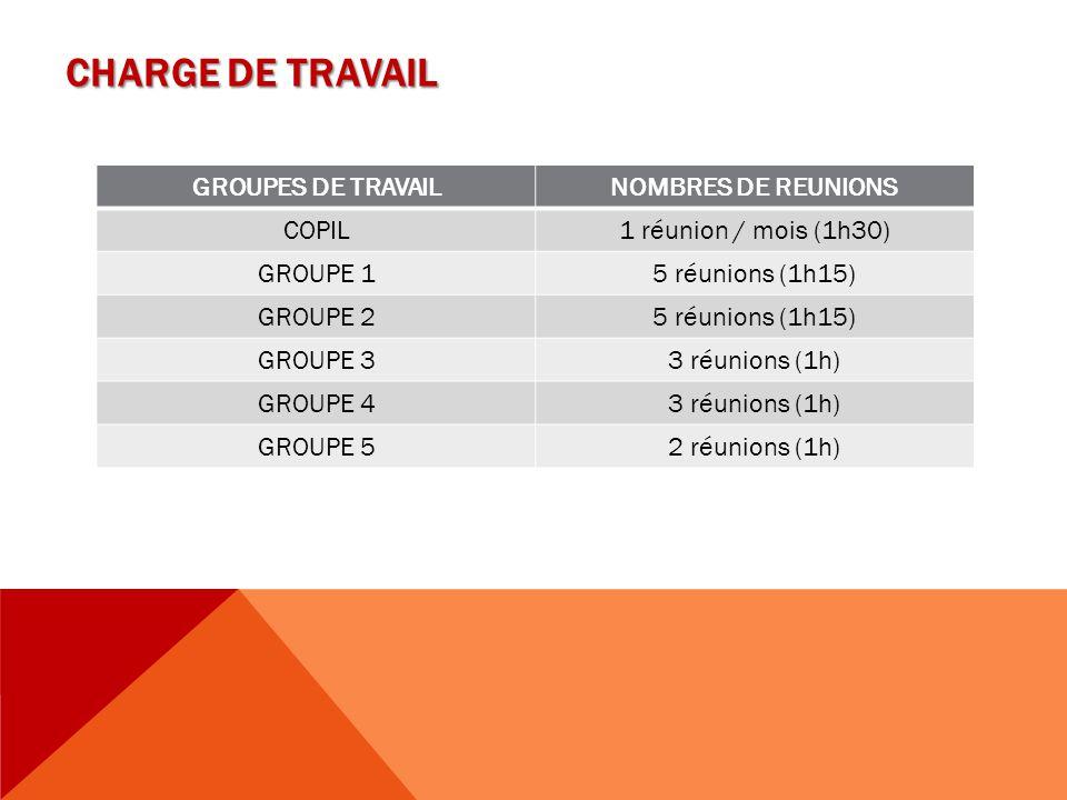 CHARGE DE TRAVAIL GROUPES DE TRAVAILNOMBRES DE REUNIONS COPIL1 réunion / mois (1h30) GROUPE 15 réunions (1h15) GROUPE 25 réunions (1h15) GROUPE 33 réu