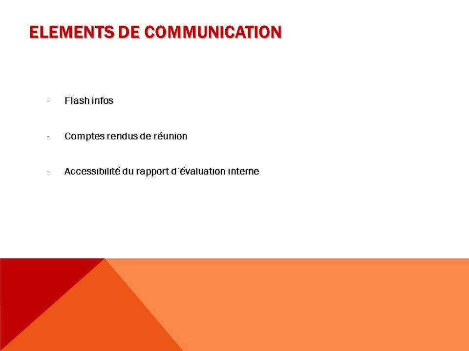 ELEMENTS DE COMMUNICATION -Flash infos -Comptes rendus de réunion -Accessibilité du rapport d'évaluation interne
