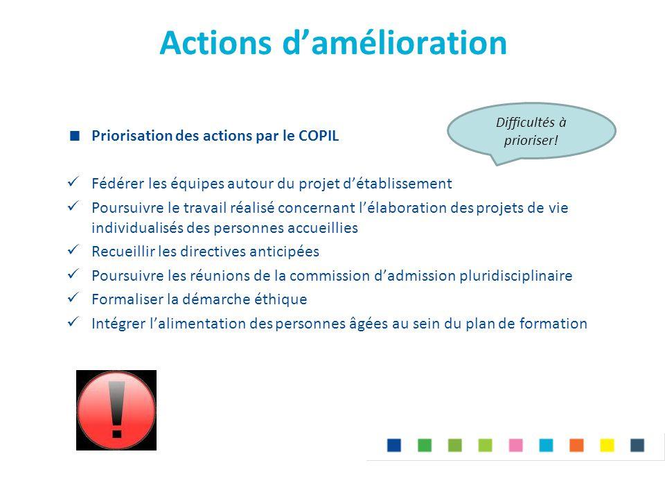 Actions d'amélioration  Priorisation des actions par le COPIL Fédérer les équipes autour du projet d'établissement Poursuivre le travail réalisé conc