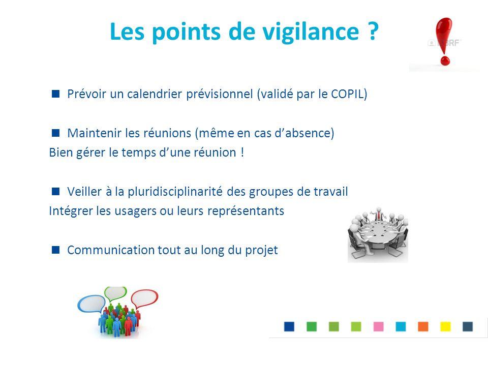 Les points de vigilance ?  Prévoir un calendrier prévisionnel (validé par le COPIL)  Maintenir les réunions (même en cas d'absence) Bien gérer le te