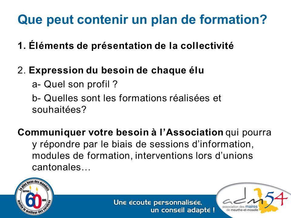 Que peut contenir un plan de formation? 1. Éléments de présentation de la collectivité 2. Expression du besoin de chaque élu a- Quel son profil ? b- Q