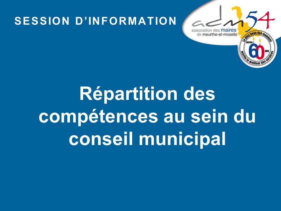 SESSION D'INFORMATION Répartition des compétences au sein du conseil municipal