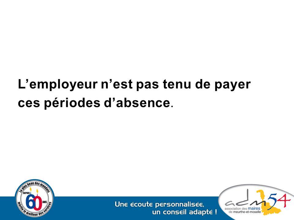 L'employeur n'est pas tenu de payer ces périodes d'absence.