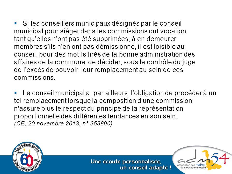  Si les conseillers municipaux désignés par le conseil municipal pour siéger dans les commissions ont vocation, tant qu'elles n'ont pas été supprimée