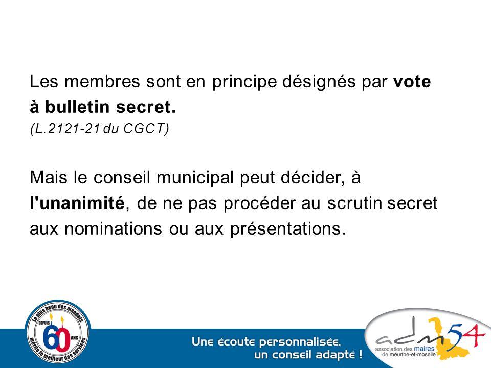 Les membres sont en principe désignés par vote à bulletin secret. (L.2121-21 du CGCT) Mais le conseil municipal peut décider, à l'unanimité, de ne pas