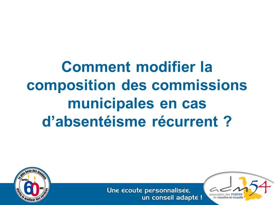 Comment modifier la composition des commissions municipales en cas d'absentéisme récurrent ?