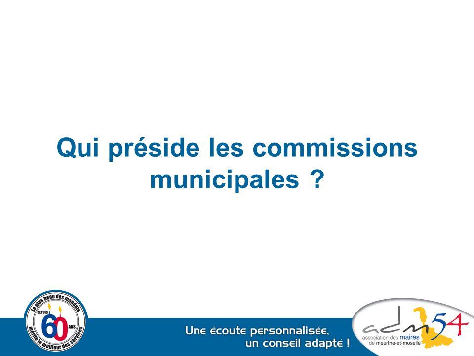 Qui préside les commissions municipales ?