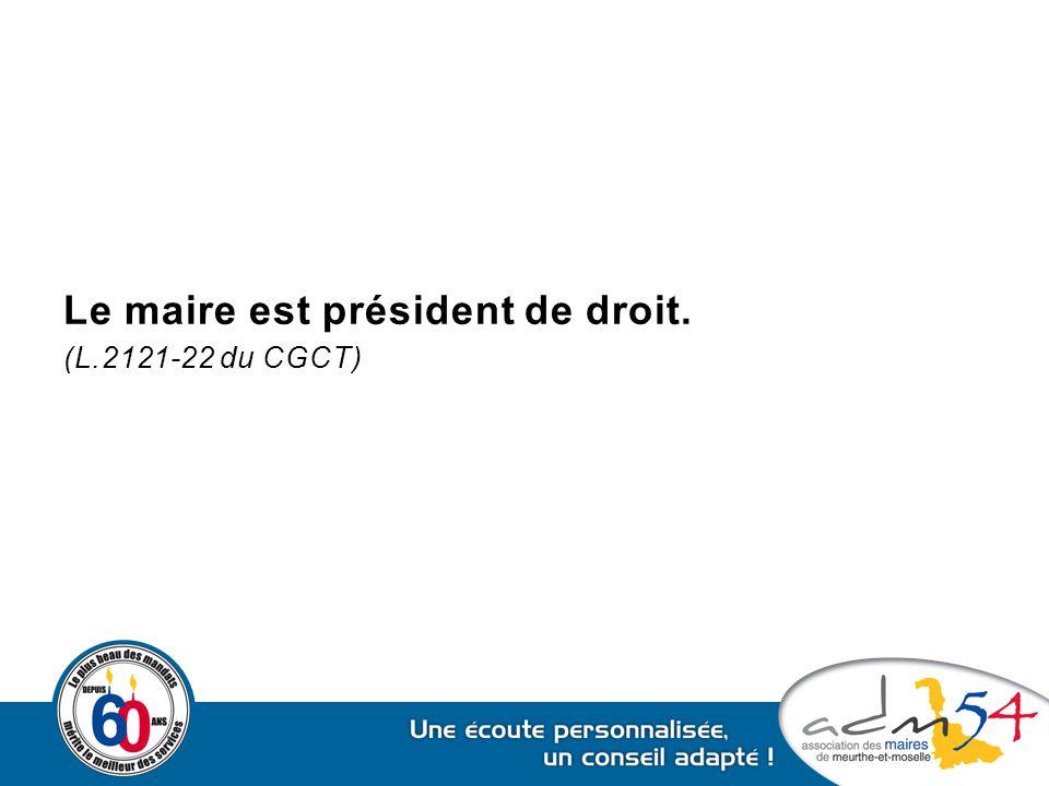 Le maire est président de droit. (L.2121-22 du CGCT)