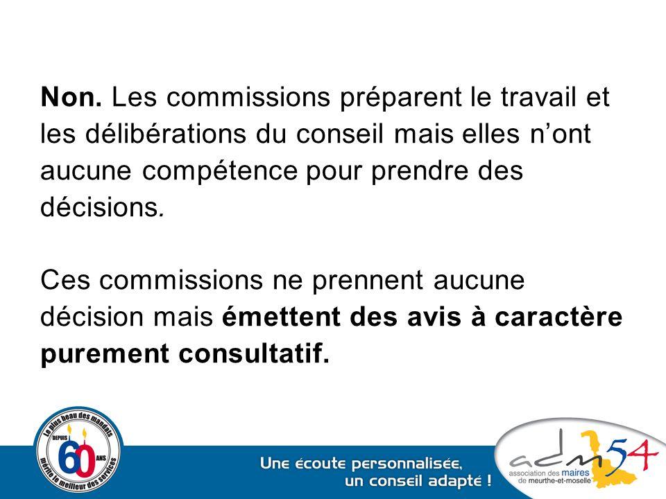 Non. Les commissions préparent le travail et les délibérations du conseil mais elles n'ont aucune compétence pour prendre des décisions. Ces commissio