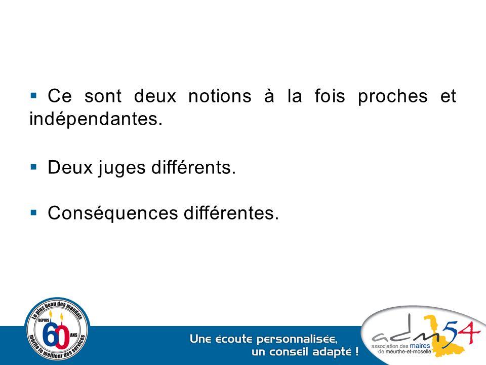  Ce sont deux notions à la fois proches et indépendantes.  Deux juges différents.  Conséquences différentes.