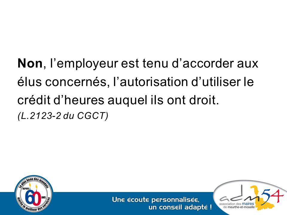 Non, l'employeur est tenu d'accorder aux élus concernés, l'autorisation d'utiliser le crédit d'heures auquel ils ont droit. (L.2123-2 du CGCT)