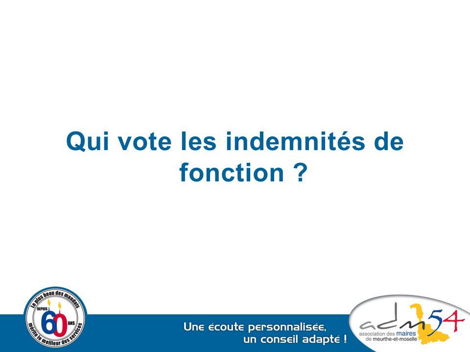 Qui vote les indemnités de fonction ?