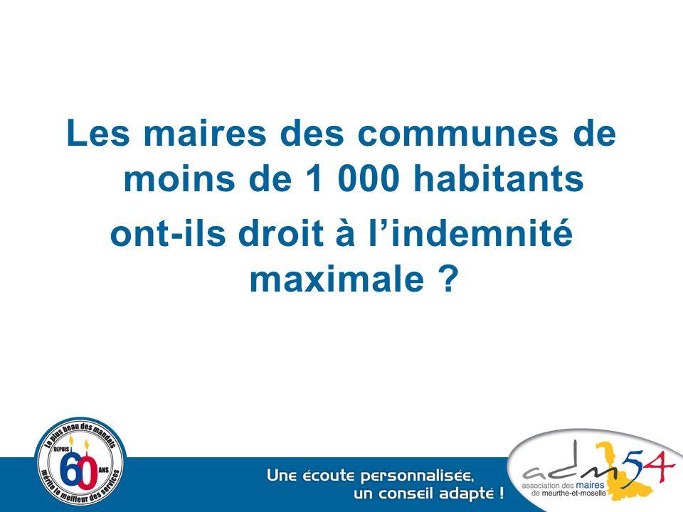 Les maires des communes de moins de 1 000 habitants ont-ils droit à l'indemnité maximale ?