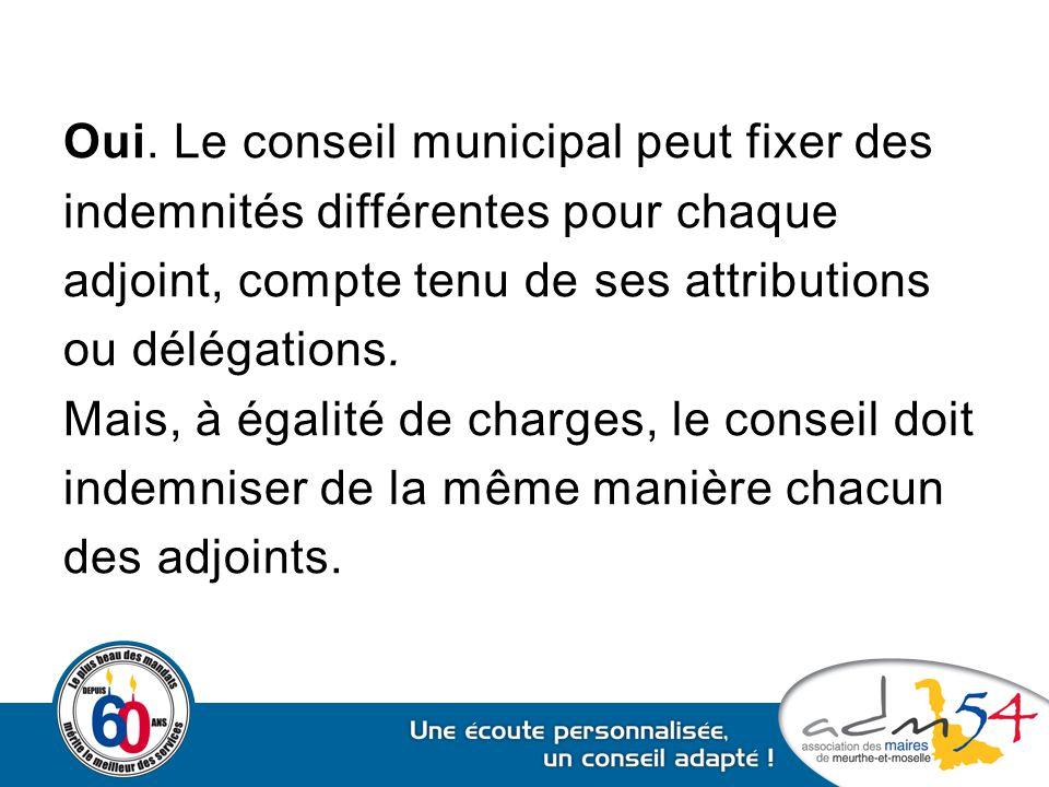 Oui. Le conseil municipal peut fixer des indemnités différentes pour chaque adjoint, compte tenu de ses attributions ou délégations. Mais, à égalité d
