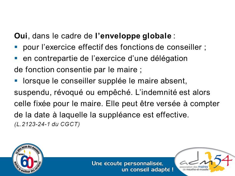 Oui, dans le cadre de l'enveloppe globale :  pour l'exercice effectif des fonctions de conseiller ;  en contrepartie de l'exercice d'une délégation