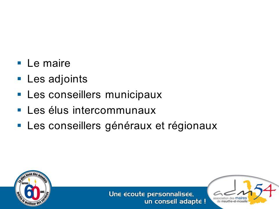  Le maire  Les adjoints  Les conseillers municipaux  Les élus intercommunaux  Les conseillers généraux et régionaux