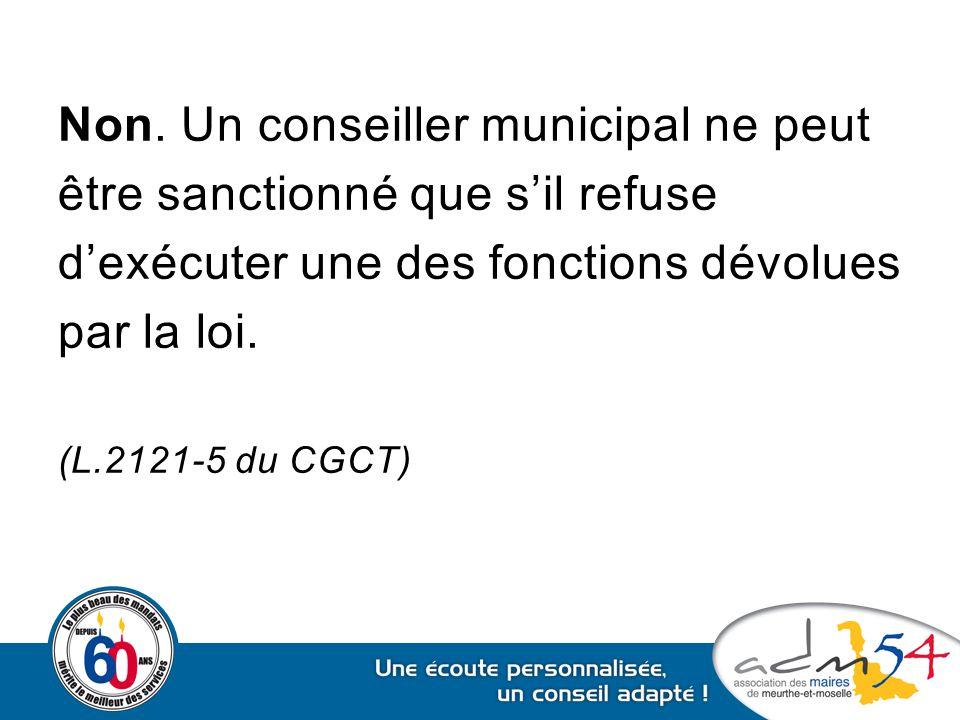 Non. Un conseiller municipal ne peut être sanctionné que s'il refuse d'exécuter une des fonctions dévolues par la loi. (L.2121-5 du CGCT)