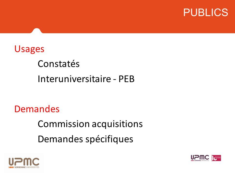 Usages Constatés Interuniversitaire - PEB Demandes Commission acquisitions Demandes spécifiques PUBLICS