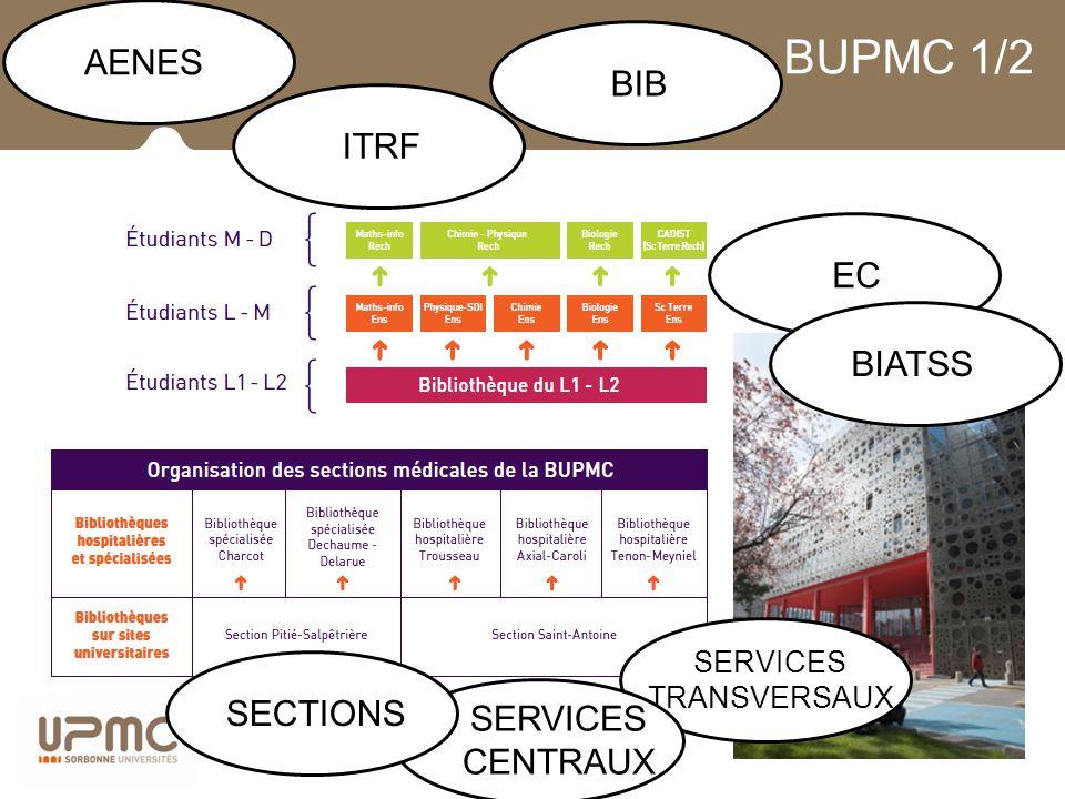 BUPMC 1/2 AENESITRFBIBECBIATSS SERVICES TRANSVERSAUX SERVICES CENTRAUX SECTIONS