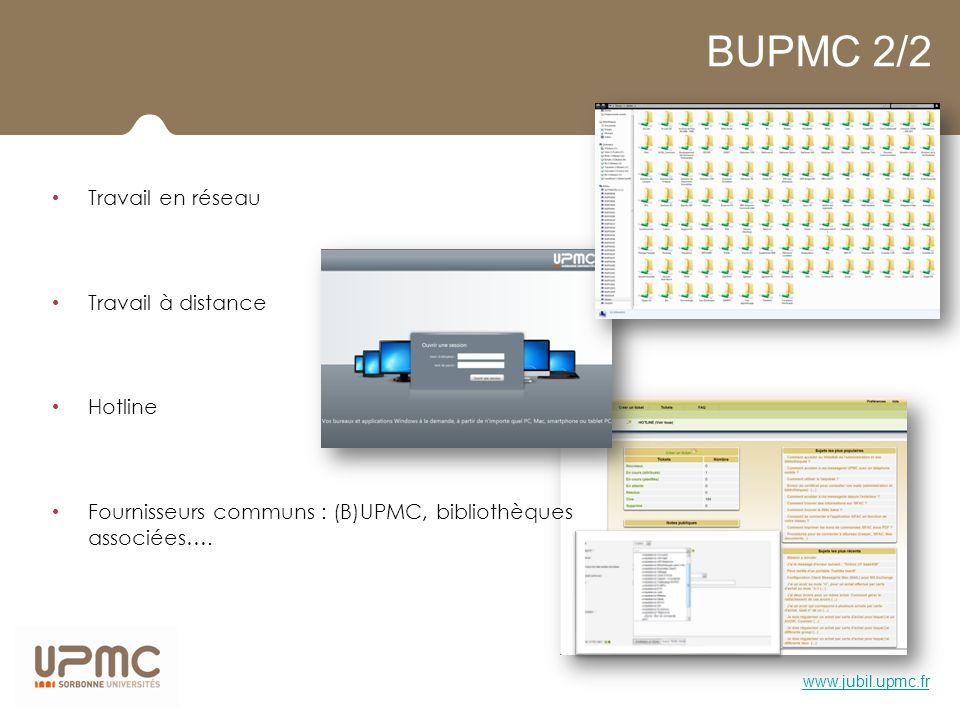 BUPMC 2/2 Travail en réseau Travail à distance Hotline Fournisseurs communs : (B)UPMC, bibliothèques associées…. www.jubil.upmc.fr