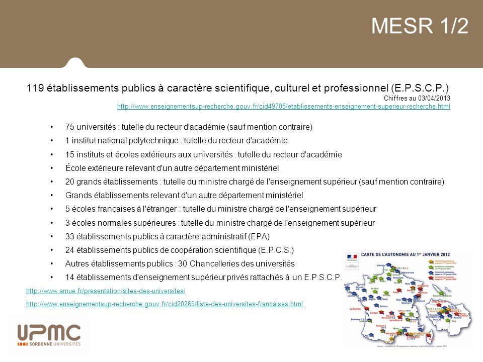 MESR 1/2 119 établissements publics à caractère scientifique, culturel et professionnel (E.P.S.C.P.) Chiffres au 03/04/2013 http://www.enseignementsup