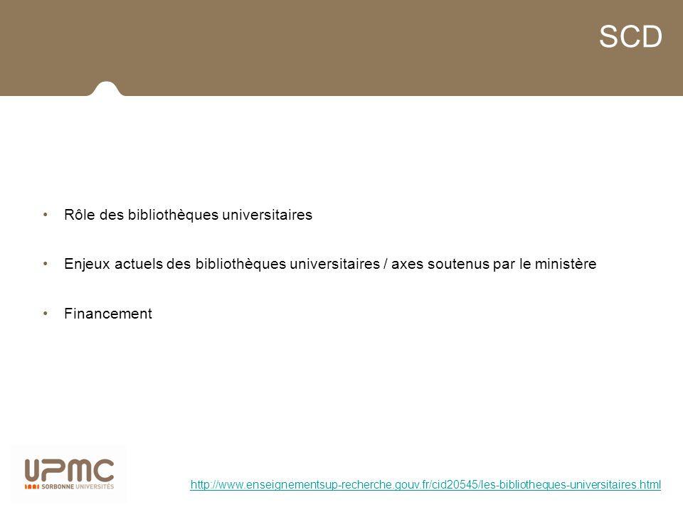 SCD Rôle des bibliothèques universitaires Enjeux actuels des bibliothèques universitaires / axes soutenus par le ministère Financement http://www.ense