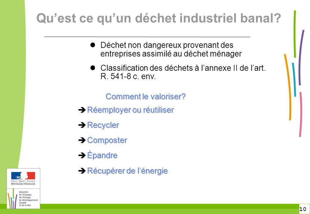 10 Déchet non dangereux provenant des entreprises assimilé au déchet ménager Classification des déchets à l'annexe II de l'art. R. 541-8 c. env. Qu'es