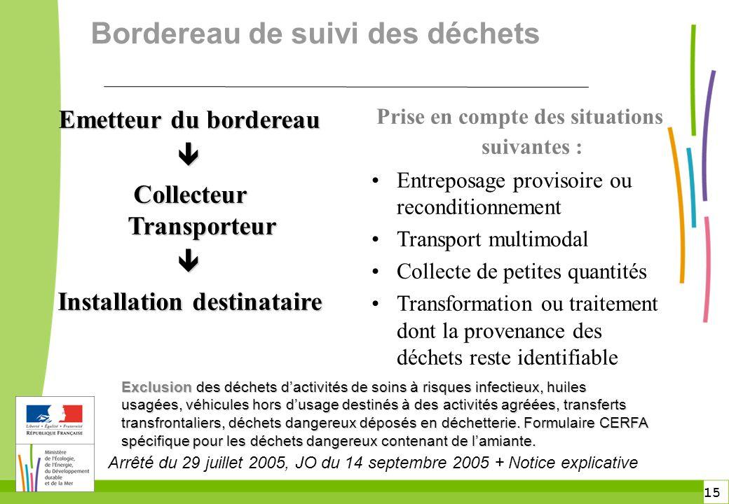 15 Bordereau de suivi des déchets Prise en compte des situations suivantes : Entreposage provisoire ou reconditionnement Transport multimodal Collecte