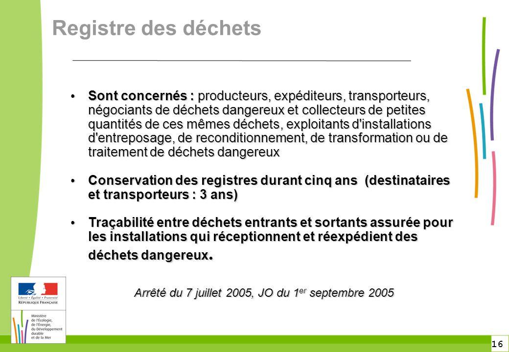 16 Registre des déchets Sont concernés : producteurs, expéditeurs, transporteurs, négociants de déchets dangereux et collecteurs de petites quantités
