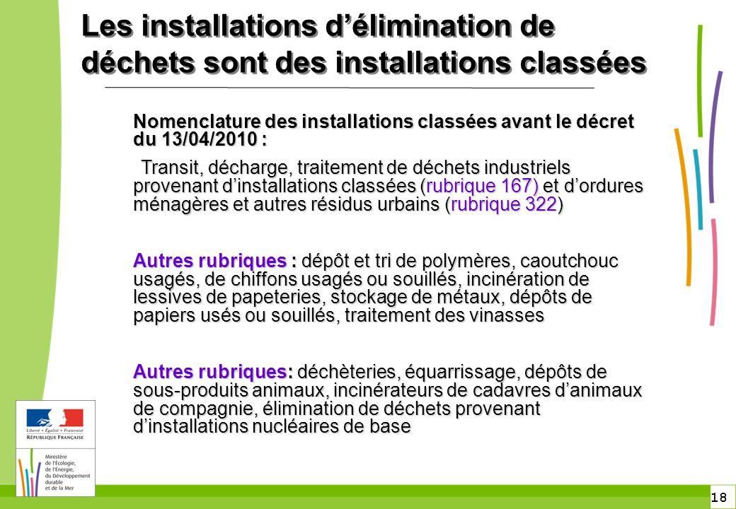 18 Les installations d'élimination de déchets sont des installations classées Nomenclature des installations classées avant le décret du 13/04/2010 :