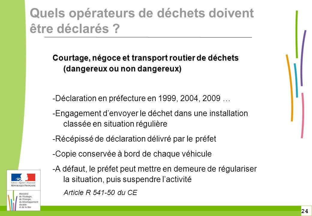 24 Quels opérateurs de déchets doivent être déclarés ? Courtage, négoce et transport routier de déchets (dangereux ou non dangereux) -Déclaration en p