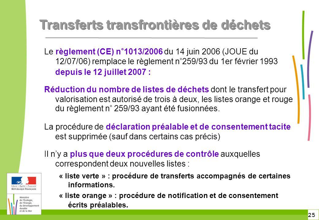 25 Transferts transfrontières de déchets Le règlement (CE) n°1013/2006 du 14 juin 2006 (JOUE du 12/07/06) remplace le règlement n°259/93 du 1er févrie