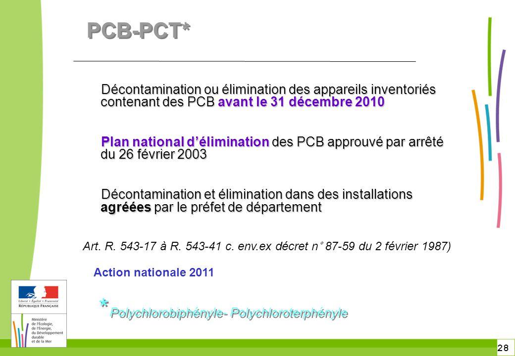 28 PCB-PCT* Décontamination ou élimination des appareils inventoriés contenant des PCB avant le 31 décembre 2010 Décontamination ou élimination des ap